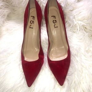Shoes - Red Suede Pumps